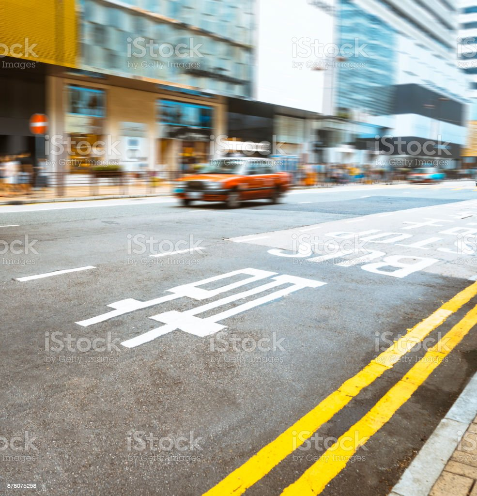 red cabs driving on Hong Kong road stock photo