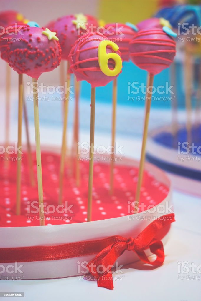 Outstanding Red Cake Pops With Birthday Decoration And Number 6 For 6Th Funny Birthday Cards Online Barepcheapnameinfo