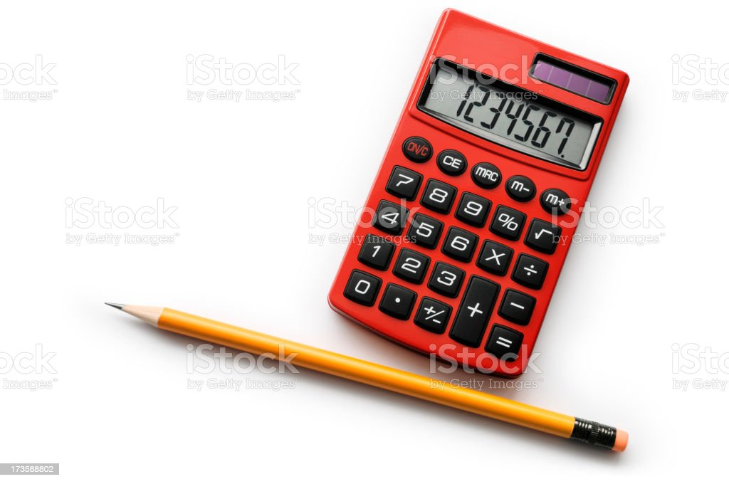 Red calculator royalty-free stock photo