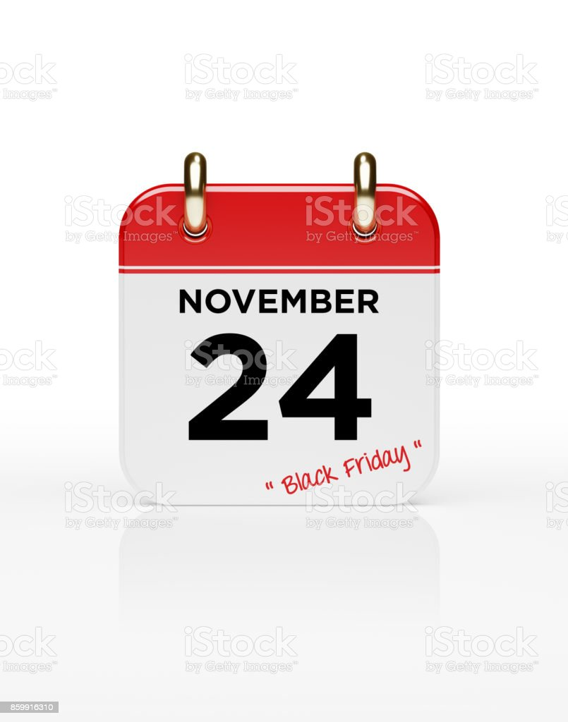 Red Calendar On White Background: Black Friday Concept stock photo