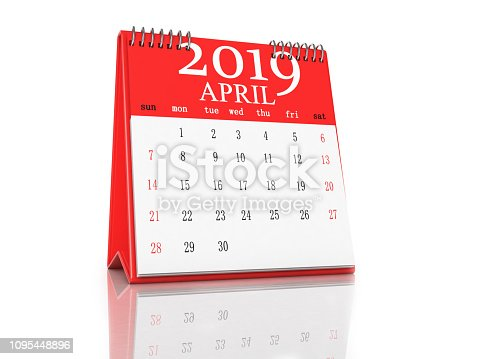 1124594277 istock photo Red Calendar on White Background 1095448896