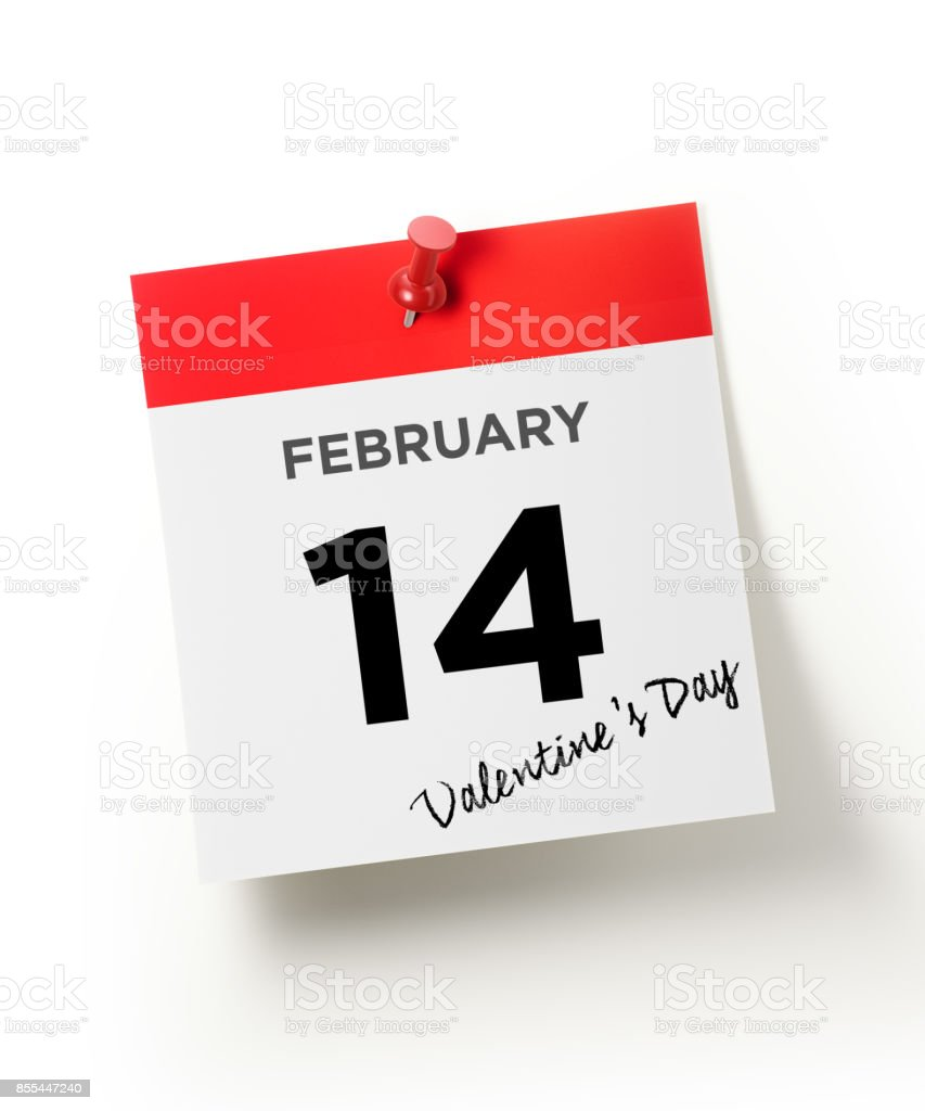 Red Calendar Pinned With A Red Push Pin: February 14 Valentine`s Day Concept stock photo
