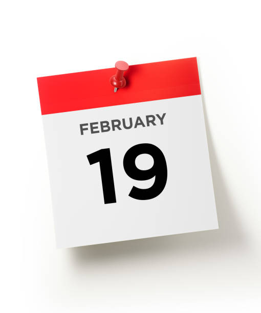 red calendar pinned with a red push pin: february 19 president`s day concept - number 19 stock photos and pictures