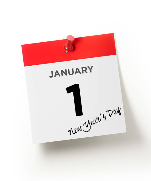 red calendar pinned with a red push pin : new year`s day concept - new years day stock pictures, royalty-free photos & images