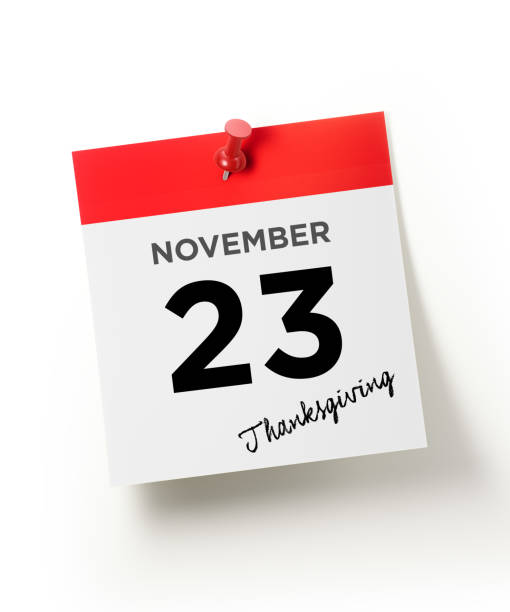 red calendar pinned with a red push pin: november 23 thanksgiving concept - number 23 stock photos and pictures