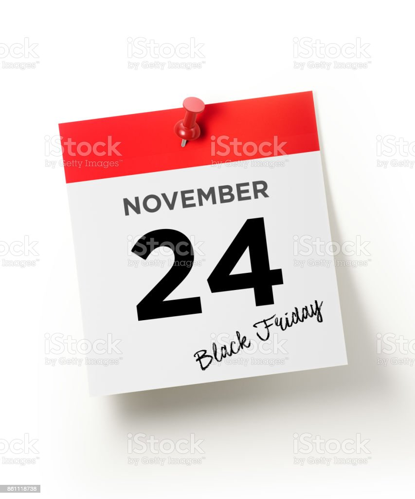 Red Calendar Pinned With A Red Push Pin: November 24 Black Friday Concept stock photo