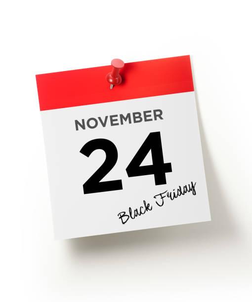 roter kalender mit einer roten push-pin merken: 24. november schwarze freitag konzept - heute ist freitag stock-fotos und bilder