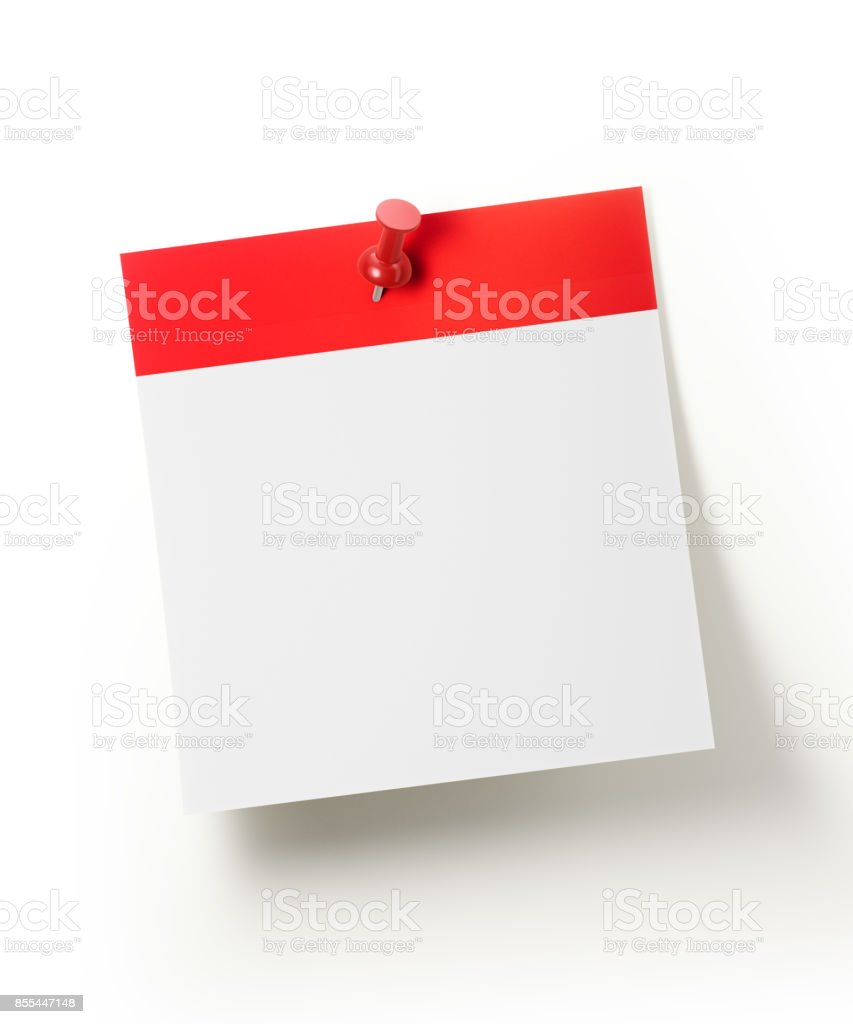Red Calendar Pinned With A Red Push Pin stock photo