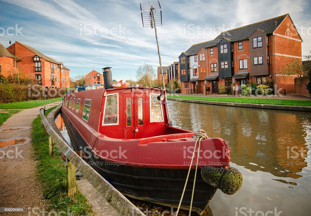Red canal boat stock photo