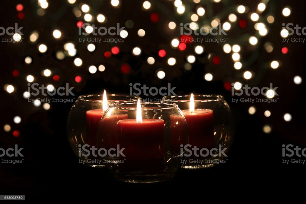 Red Candles and Lights stock photo