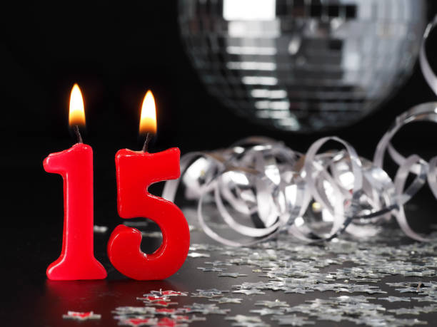 Red Candles Showing Nr 15 Stock Photo