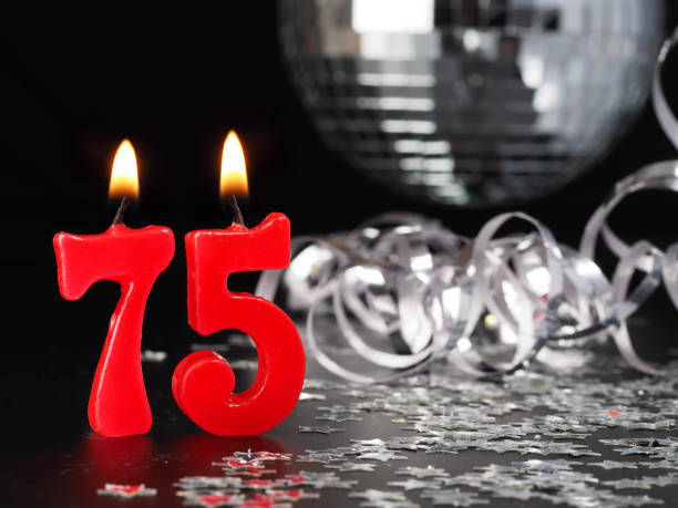 Red Candles Showing Nr 75 Stock Photo