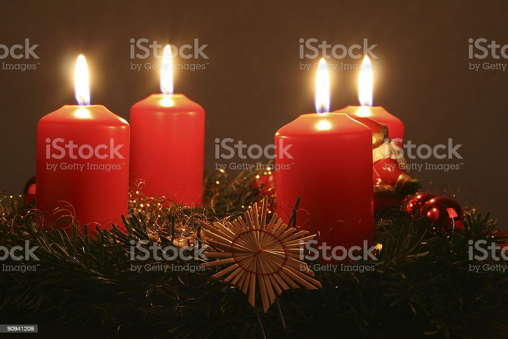 Red Candles with Wreath royalty-free stock photo