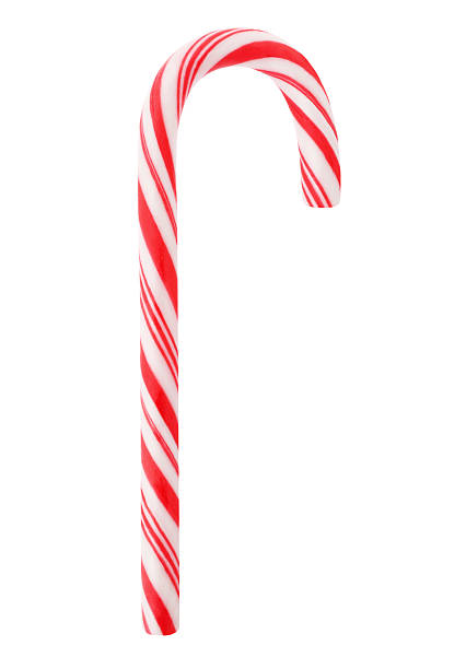 Red Candy Cane Christmas red candy cane isolated on white candy cane stock pictures, royalty-free photos & images