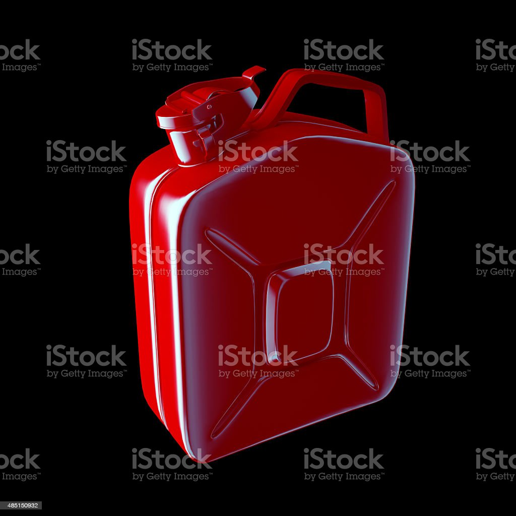 Red canister isolated on black background. stock photo