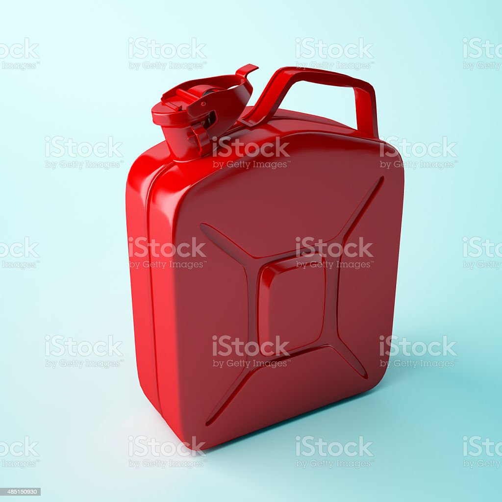 Red canister isolated on white background. stock photo