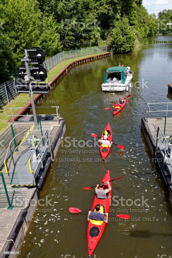 red canoe leave lock stock photo