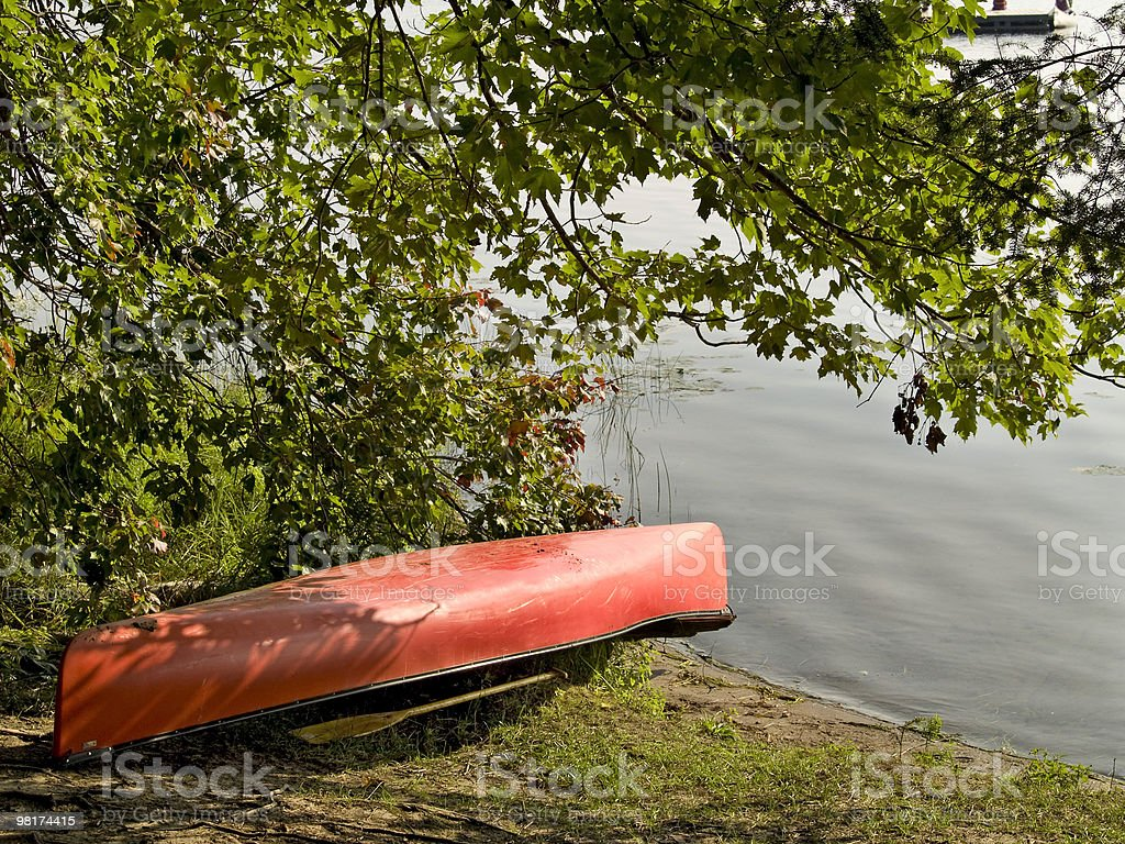Red Canoe royalty-free stock photo