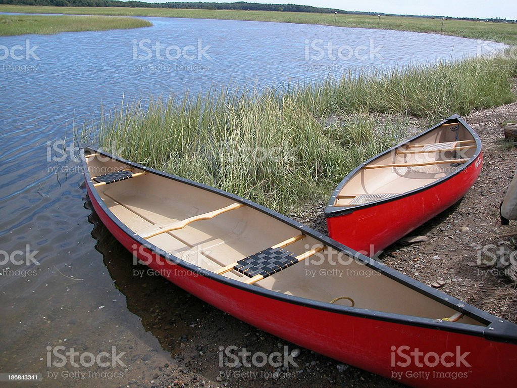 red  canoes royalty-free stock photo