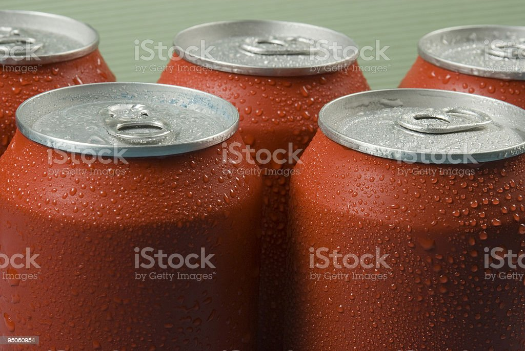 Red cans stock photo