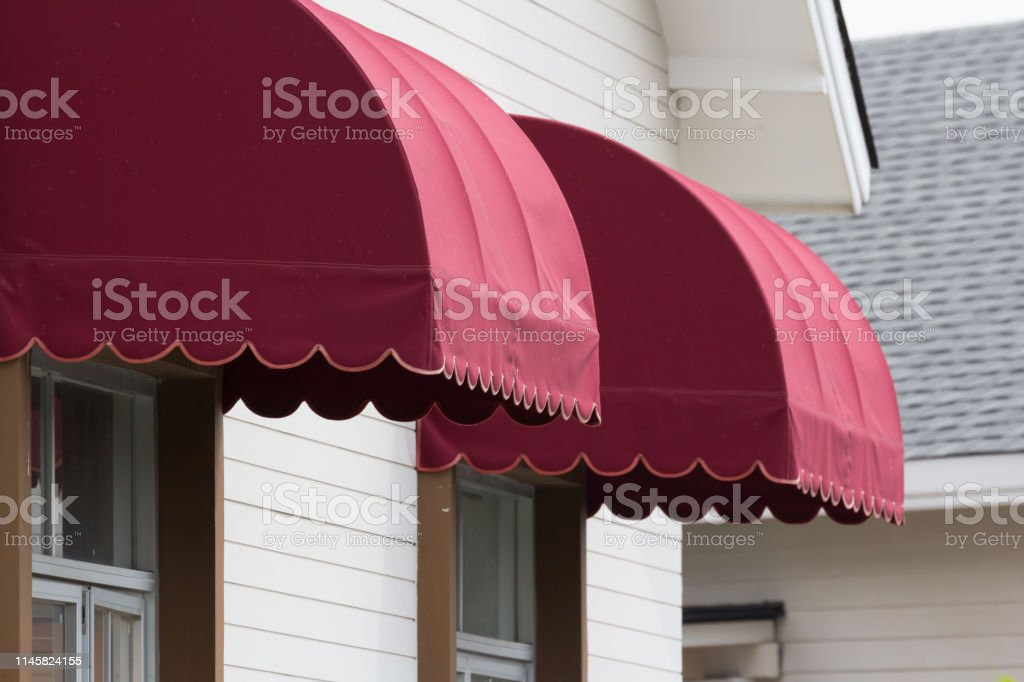 Red Canvas Awnings Over House Window Stock Photo Download Image Now Istock