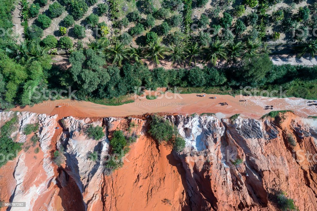 Red Canyon and The Fairy Spring aerial view, Mui Ne, Vietnam royalty-free stock photo