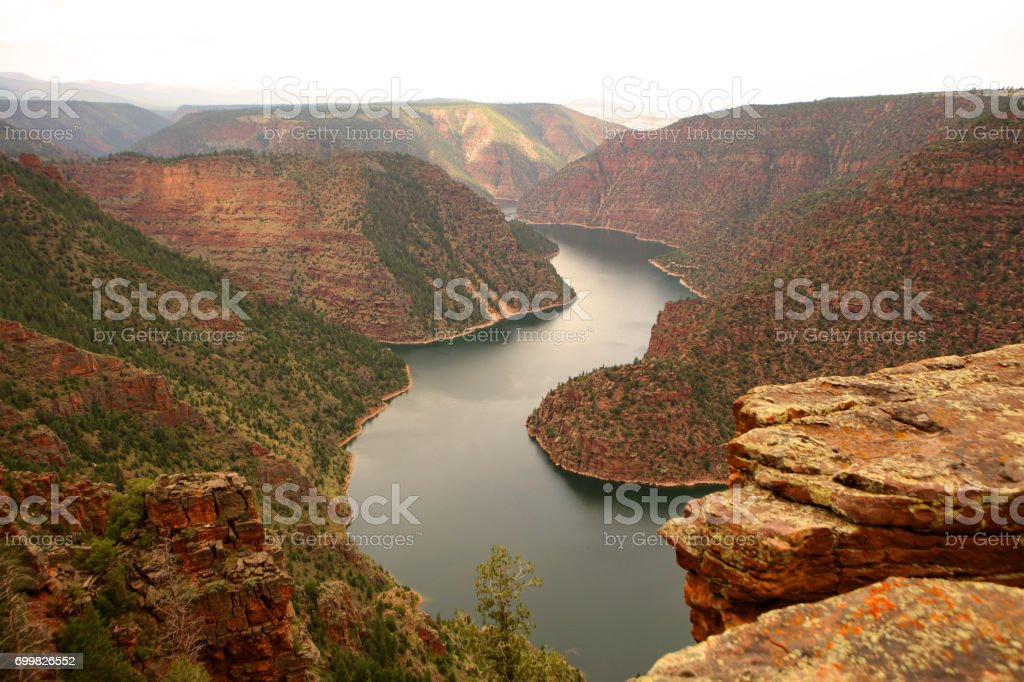 Red Canyon Viewpoint at Flaming Gorge Recreational Area in Utah USA stock photo