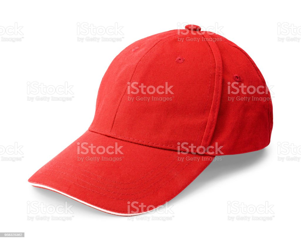74b3c57987e Red cap isolated on white background. Template of baseball cap in front  view. ( Clipping path ) - Stock image .