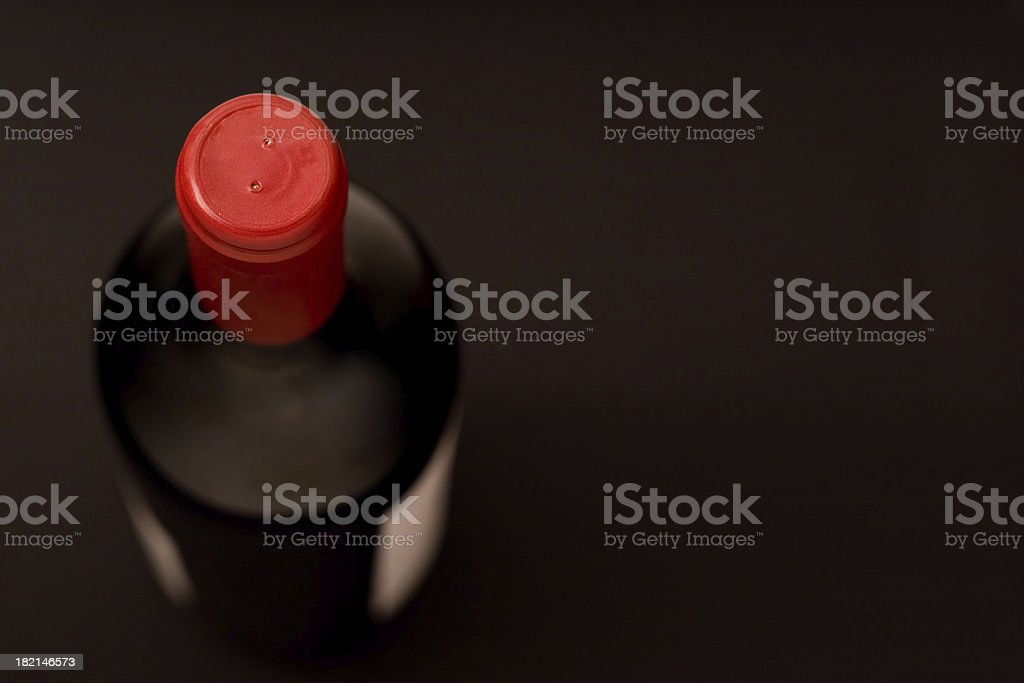 Red capped bottle stock photo