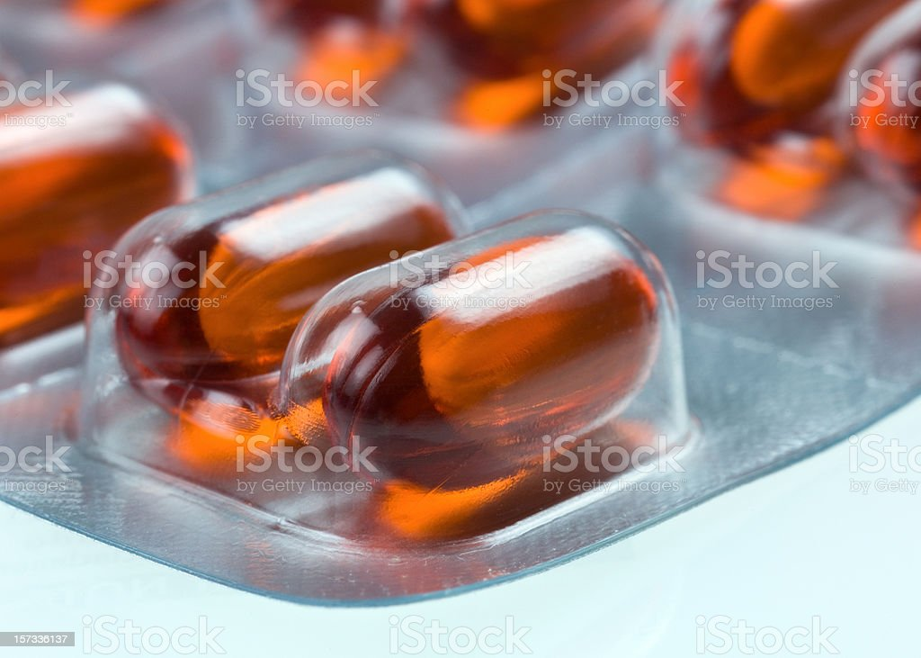 Red Capsules Blister pack stock photo