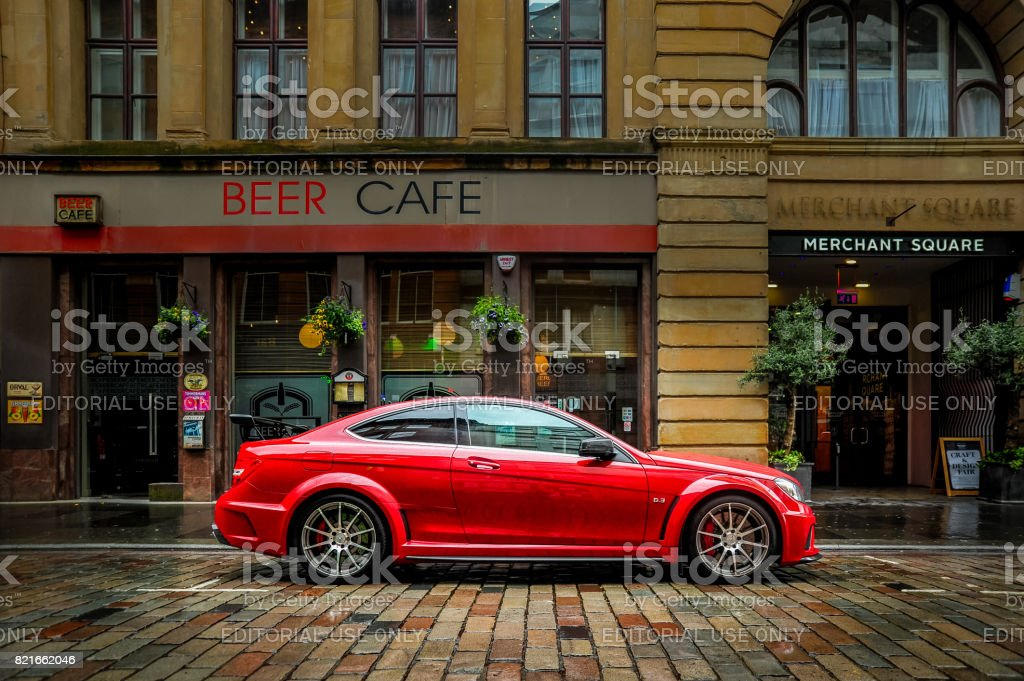Red car and cafe stock photo