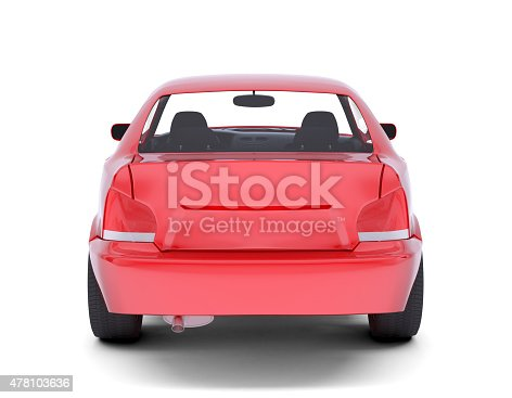istock Red car. Back view 478103636