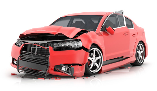 istock Red car crash on isolated white background 950299922
