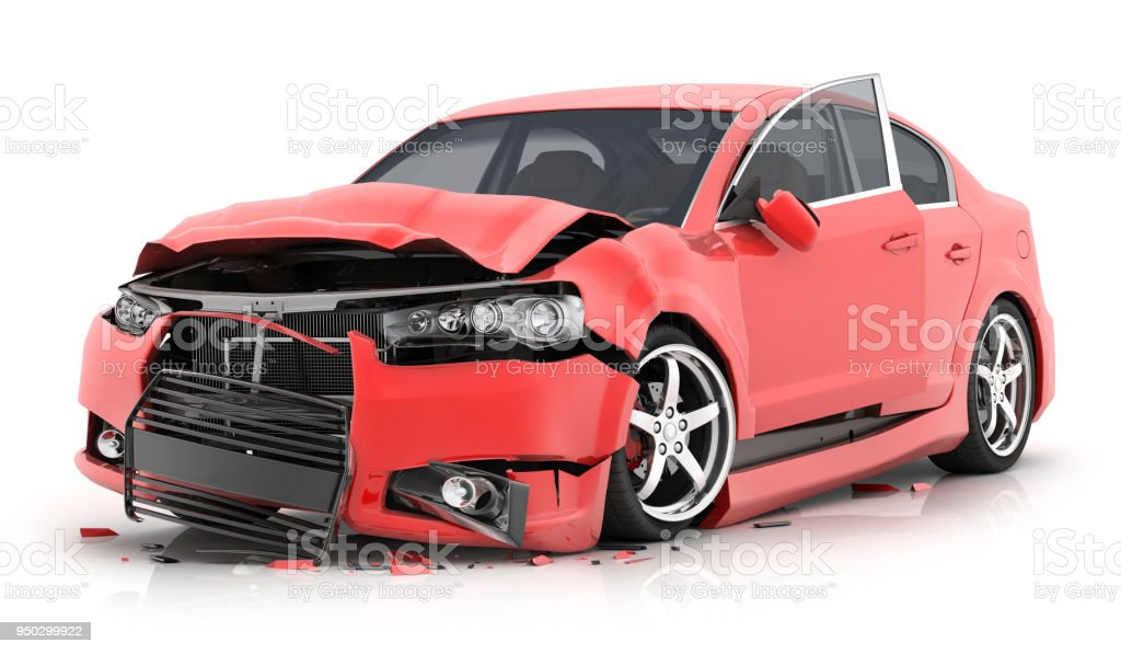 Red car crash on isolated white background stock photo
