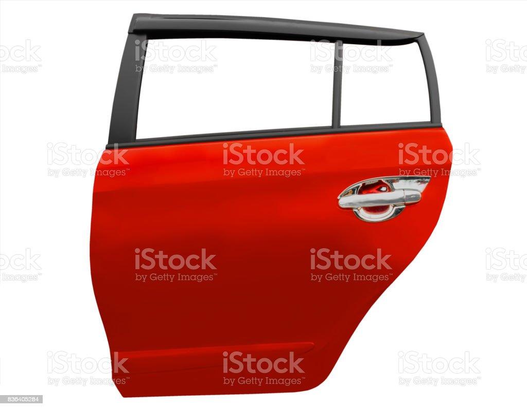 Puerta del coche rojo aislada sobre fondo blanco con trazado de clip - foto de stock