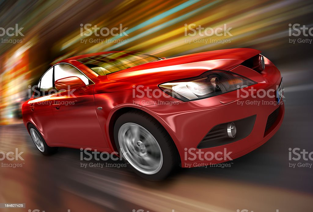 Red car driving fast royalty-free stock photo