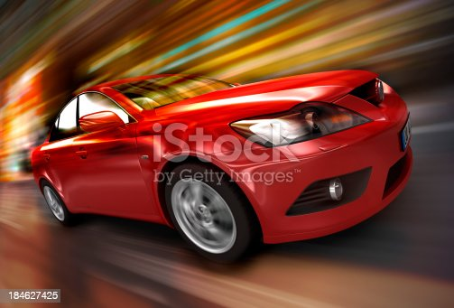 istock Red car driving fast 184627425