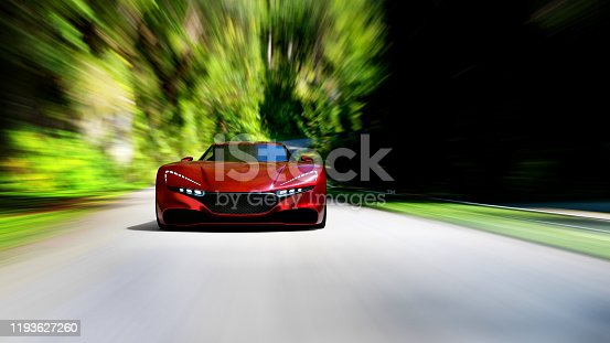 918555756 istock photo red car driving on a forest road 1193627260