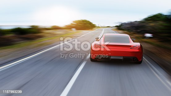 view from rear of fast moving car, mountain road, motion blur,  3D, car of my own design.