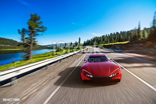 view from front of fast moving car, mountain road, motion blur,  3D, car of my own design.