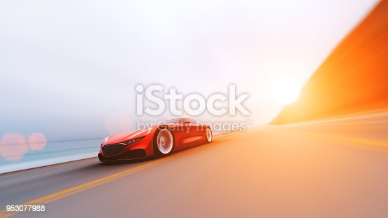 918555756 istock photo red car driving on a road by sea 953077988