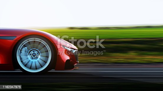 side view of fast moving red car, road in fields, motion blur,  3D, car of my own design.
