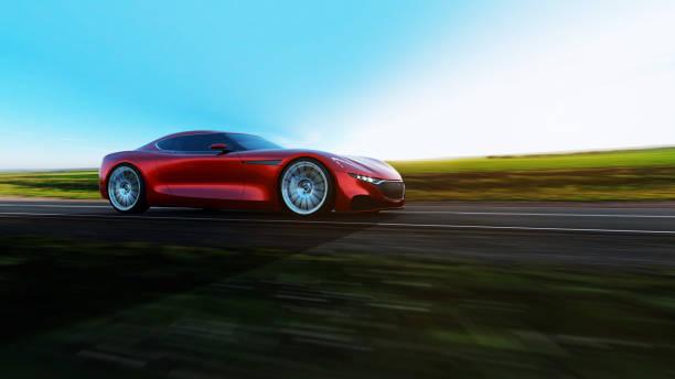 rotes Auto fährt auf einer Straße – Foto