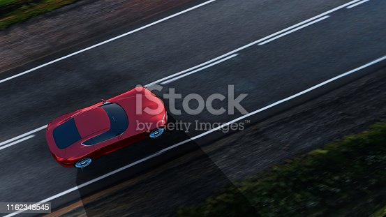 top view of fast moving red car, road in fields, motion blur,  3D, car of my own design.