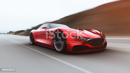 istock red car driving on a road 940523570