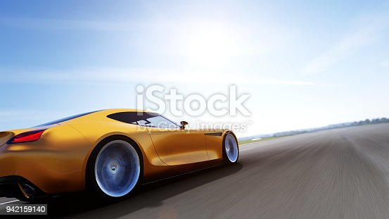 918555756 istock photo red car driving on a road 942159140