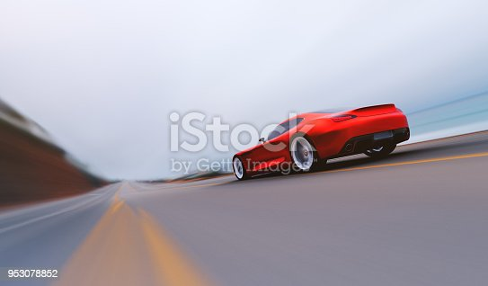 rear view of fast moving car, motion blur,  3D, car of my own design.