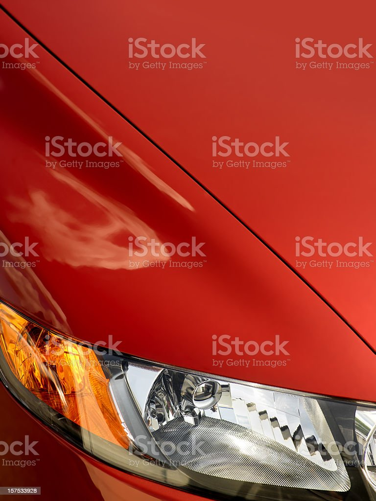 Red Car Front Fender with light, Close-up stock photo