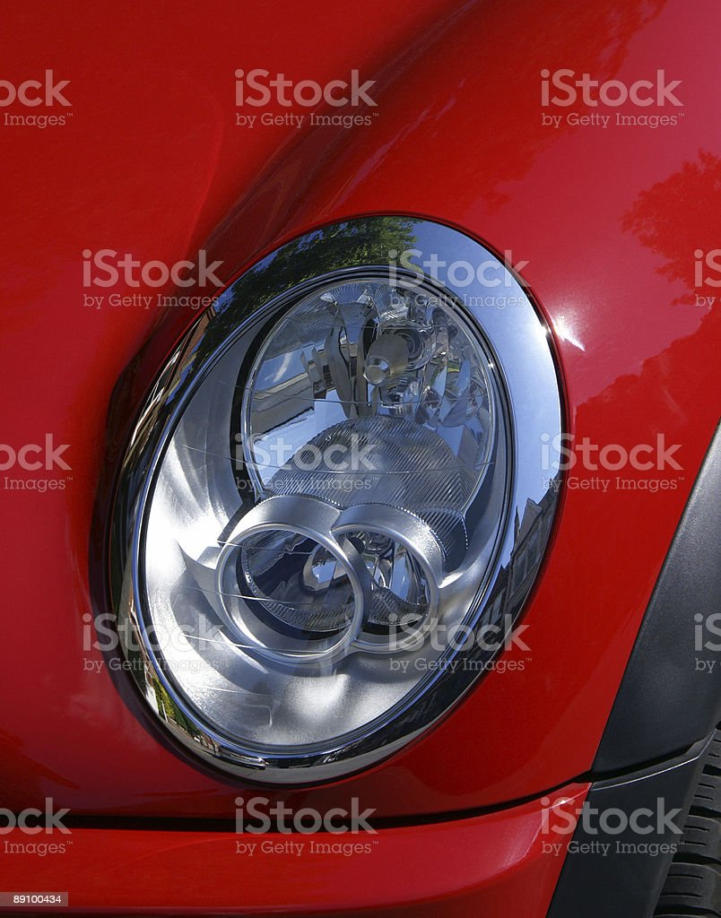 Red Car Headlight stock photo