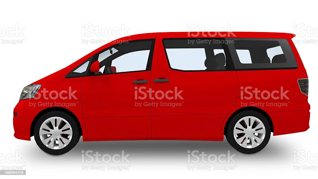 Red Car mini van isolated on white stock photo